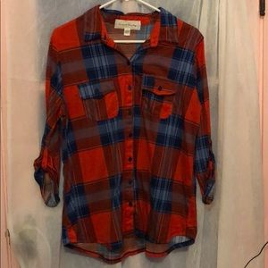 French Laundry Red Plaid Button-up size 1X